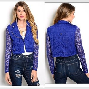 royal blue crochet lace bomber jacket/ moto jacket