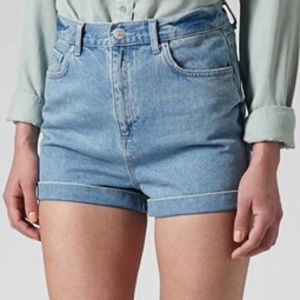 Topshop Jeans - Topshop Light Wash Mom Shorts