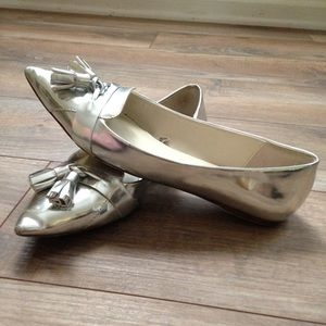 Zara Silver Oxford Pointed-Toe Flats