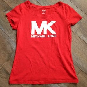 Michael Kors Bright Red Scoop Neck T-Shirt