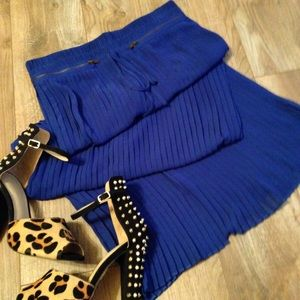 Bright Cobalt Blue Pleated Maxi Skirt