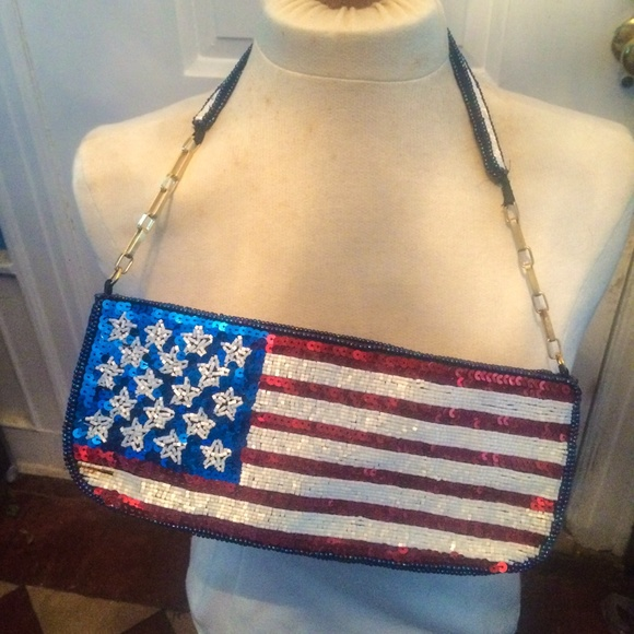 Sequin and bead American flag bag
