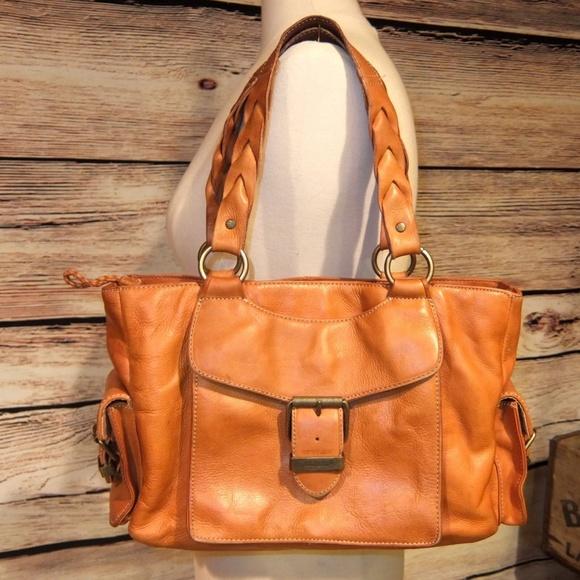 Eddie Bauer Handbags - Vintage Eddie Bauer Cognac Leather Satchel Purse a3e1e5f4ff7e9