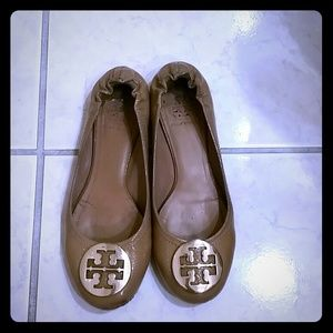 Tory Burch Patent Nude Reva Ballet Flats