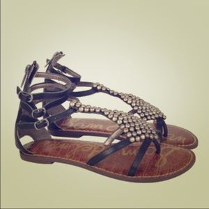 Black Studded Sam Edelman Gladiator Sandals
