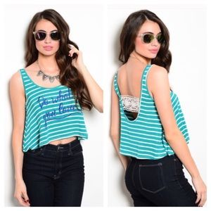 Teal Striped Quote Print Crop Top