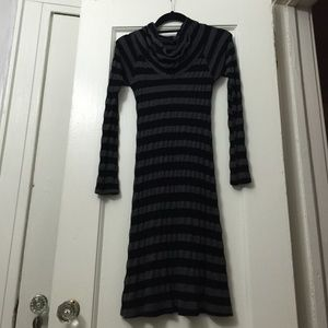 Black and gray striped knit dress. Fashion find.