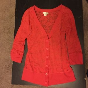 Red cardigan half sleeve sweater