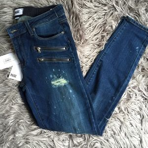 Paige jeans distress with zippers size 30