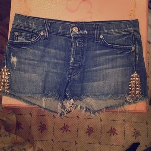 Studded 7 For All Mankind Denim Shorts