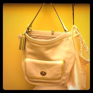 NWT Off White w/ Yellow accents Coach Bucket Bag