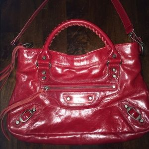 Authentic red Balenciaga mini city bag