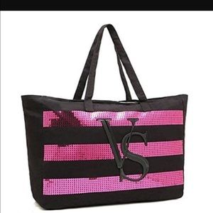 VS Black Friday LE Pink Sequin Tote Bag 2014 NWT