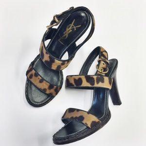 YSL | leopard calf hair sandals