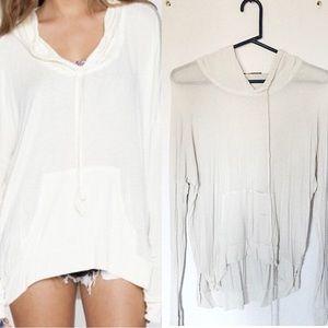 Brandy Melville white hoodie sweater