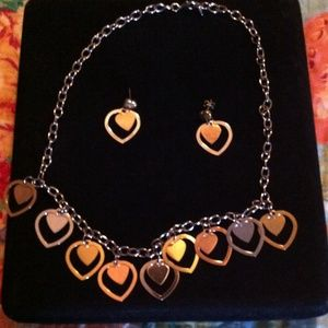 Stainless steel heart necklace & matching earrings
