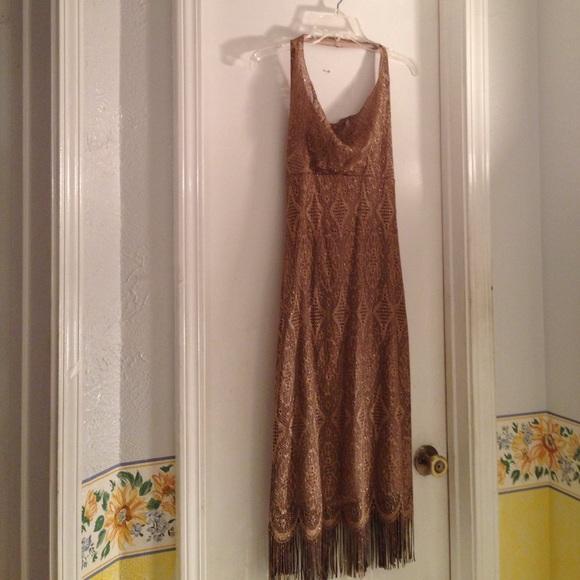 Dresses & Skirts - Gold glitter halter dress with fringe