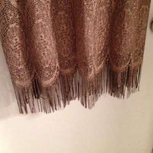 Dresses - Gold glitter halter dress with fringe