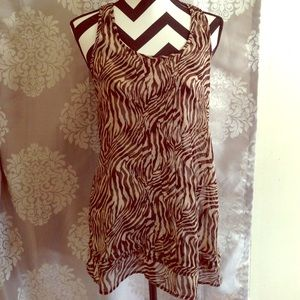 Sheer Scoop Neckline Animal Print Top