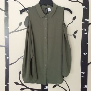 Cold shoulder olive green button down shirt