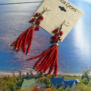 Red Rum Indian Crafted Beaded Drop Earrings