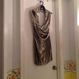 Gold metallic sexy dress