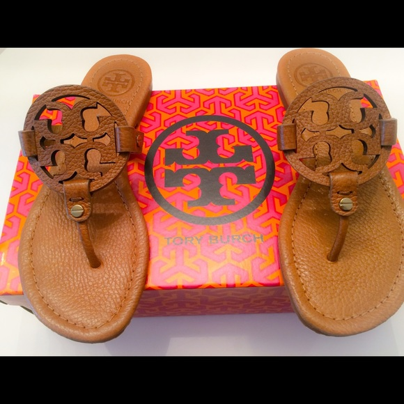 2eec13389 NIB Tory Burch Miller Tumbled Leather Sandals -6.5