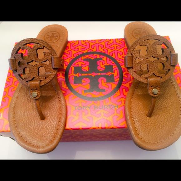 b02cffeaa59082 NIB Tory Burch Miller Tumbled Leather Sandals -6.5