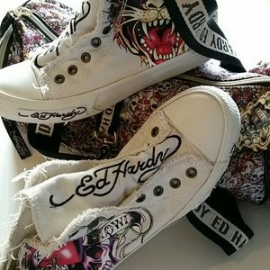 { BOGO 50% } Ed Hardy High Top Canvas Sneakers