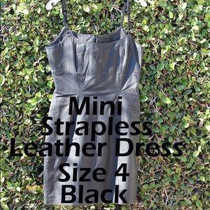 Black Spaghetti Straps Leather Mini Dress