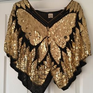Tops - Vintage 1970s handmade sequined butterfly top