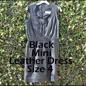 Black Leather Sleeveless Mini Dress