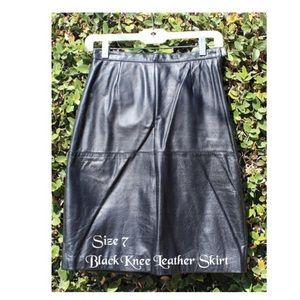 Black Knee Length Leather Skirt