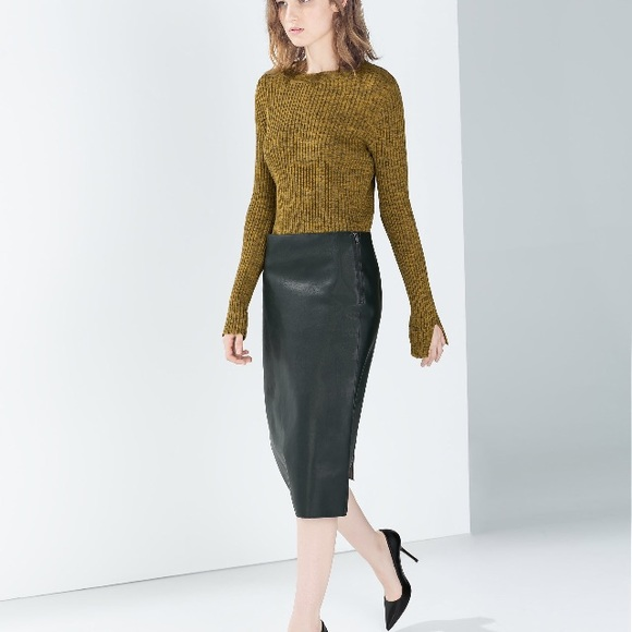 top-rated newest amazing quality replicas Zara Faux Leather Pencil Skirt (Green)