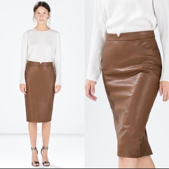 33% off Zara Dresses & Skirts - Zara Faux Leather Pencil Skirt ...