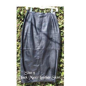 Black Maxi Leather Skirt