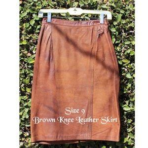 Brown Knee Length Leather Skirt