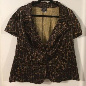Cheetah Exotic Print Short Sleeve Blazer 16/18/20