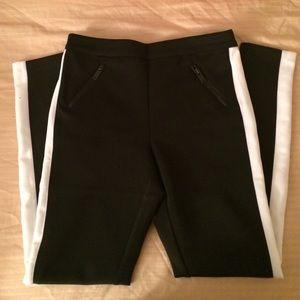 Black tuxedo style boyfriend pants