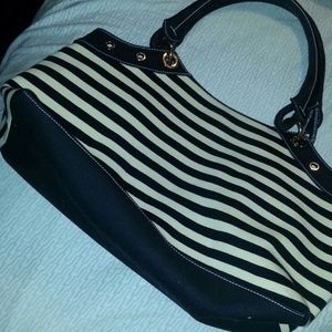 Sigrid Olsen Handbags - Large Striped Ivory & Black purse