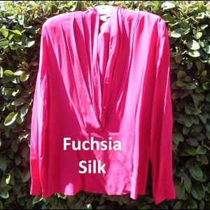 Fuchsia Silk Wrap Blouse