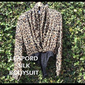 Leopard Silk Wrap Bodysuit