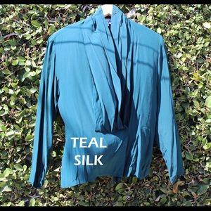 Teal Silk Wrap Blouse