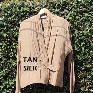 Tan Silk Wrap Blouse