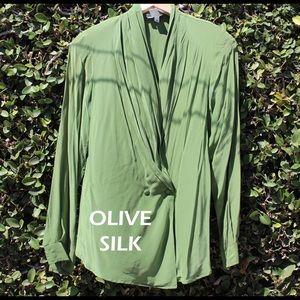 Olive Silk Wrap Blouse