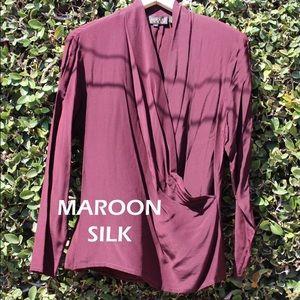 Maroon Silk Wrap Blouse