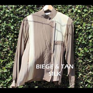 Beige/Tan Silk Wrap Blouse