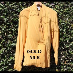 Gold Silk Wrap Blouse