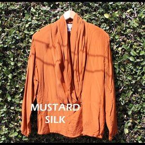 Mustard Silk Wrap Blouse