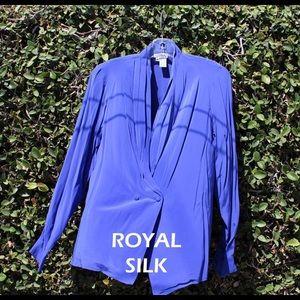 Royal Silk Wrap Blouse